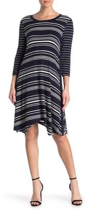 Spense Side Button Aysmmetrical Stripe Midi Dress