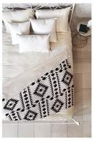 "Deny Designs Black Geometric Holli Zollinger Geo Panel White Sherpa Throw Blanket (50""X60"
