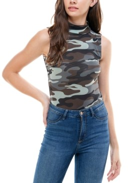 Derek Heart Juniors' Camo Print Sleeveless Bodysuit