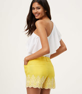 LOFT Embroidered Eyelet Riviera Shorts with 4 Inch Inseam