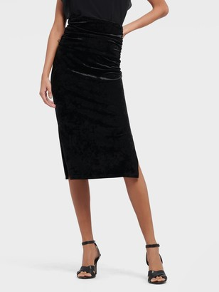 DKNY Women's Velvet Pull On Pencil Skirt - Black - Size S