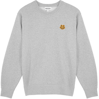 Kenzo Grey tiger-embroidered cotton sweatshirt