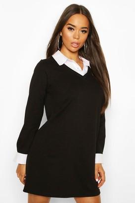 boohoo Layered Look Shirt Sweatshirt Dress