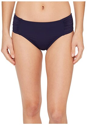 Tommy Bahama Pearl High-Waist Side-Shirred Bikini Bottom (Black) Women's Swimwear