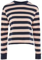 Topshop Long sleeve bold stripe crew neck top