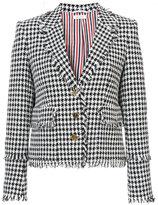 Thom Browne Trompe Lâoeil Collar Sport Coat With Fray In Gun Club Check Gimped Yarn Tweed