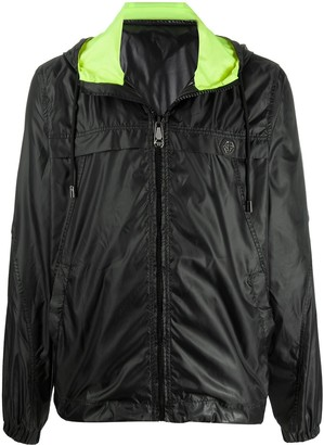 Philipp Plein Drawstring Hood Zip Up Rain Jacket