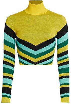 Victor Glemaud Geometric Striped Wool Turtleneck