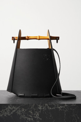 Loewe Bucket Bamboo And Leather Tote - Black