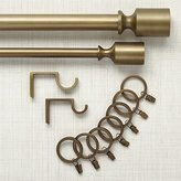 Crate & Barrel Barnes Antiqued Brass Curtain Hardware