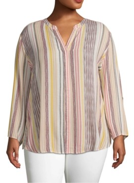 John Paul Richard Plus Size Striped Shirt
