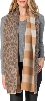 Amicale Cashmere Leopard/Buffalo Plaid Print Double Face Wrap