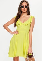 Missguided Chartreuse Frill V Neck Skater Dress