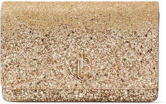 Jimmy Choo PALACE Gold Glitter Fabric Mini Bag with JC Emblem