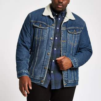 Lee Mens River Island Big and Tall Blue borg denim jacket