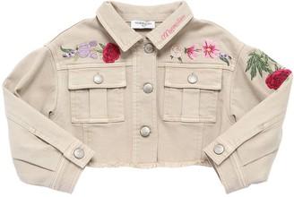 MonnaLisa Cropped Denim Jacket W/ Embroideries
