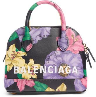 Balenciaga Extra Extra Small Ville AJ Logo Floral Print Calfskin Leather Crossbody Satchel