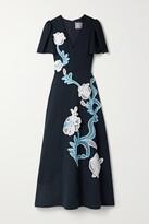 Thumbnail for your product : Lela Rose Appliqued Crepe Midi Dress - Blue