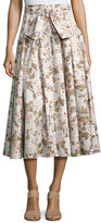 Rebecca Taylor Penelope Belted Floral Button Midi Skirt, Multicolor