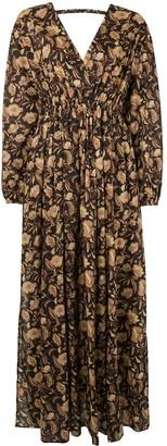 Matteau Ginger Hibiscus Open Back maxi dress
