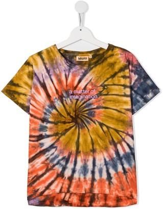 Molo Kids slogan print tie-dye T-shirt