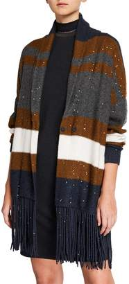 Brunello Cucinelli Cashmere-Silk Sequin Striped Fringe Cardigan