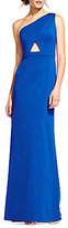Adrianna Papell Jersey One Shoulder Long Gown