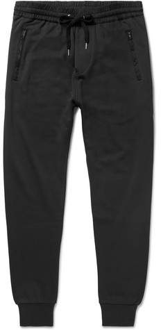 Burberry Haleford Tapered Satin-Trimmed Loopback Cotton-Jersey Sweatpants