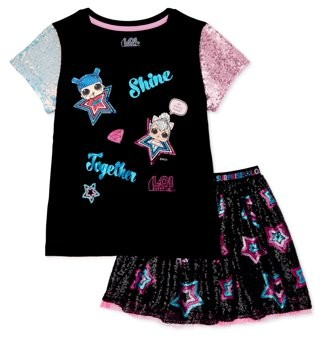 L.O.L Surprise! L.O.L. Surprise! Girls Sequin and Sparkle Graphic Tee and Skirt, 2-Piece Outfit Set, Sizes 4-16