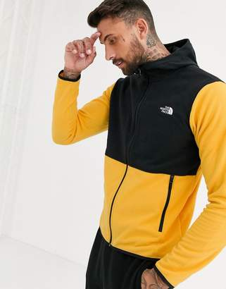 The North Face TKA Glacier fleece full zip hoodie in yellow