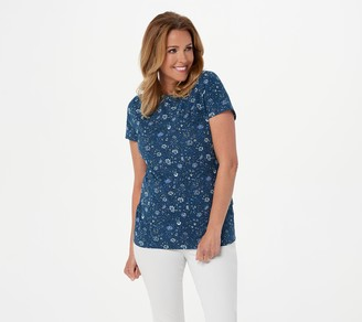 Isaac Mizrahi Live! TRUE DENIM Ditsy Floral T-Shirt