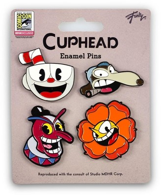 Just Funky Cuphead Collectibles  Exclusive Cuphead Enamel Pin Set 4 Pack - Brown