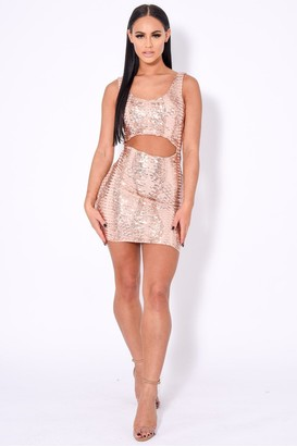 Nazz Collection Till Midnight Rose Gold Cut Out Sequin Bandage Bodycon