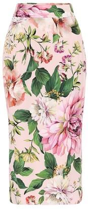 Dolce & Gabbana Floral stretch-silk pencil skirt