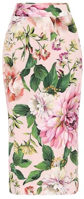 Dolce & Gabbana Floral stretch-silk pencil skirt