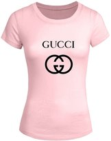 GUCCI Logo Tops T shirts Gucci Logo For 2016 Womens Printed Short Sleeve tops t shirts