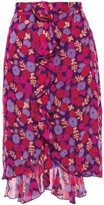 Anna Sui Asymmetric Ruffled Floral-print Silk-georgette Skirt