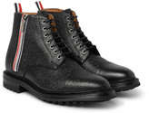 Thom Browne - Stripe-trimmed Pebble-grain Leather Boots