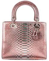 Christian Dior Medium Metallic Python Lady Bag