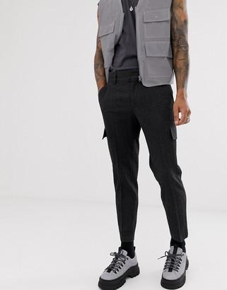 ASOS DESIGN slim crop smart seersucker cargo pants in charcoal with contrast stitching