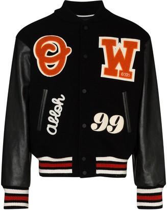 Off-White Barrel Leather Varsity Jacket Black/orange