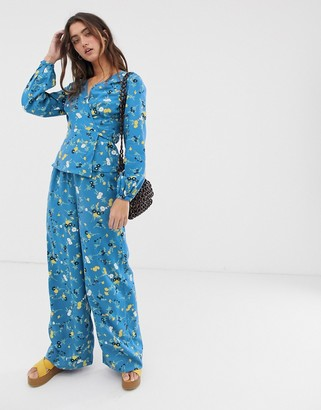 People Tree wide leg trousers in floral print co-ord-Blue