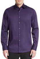 Saks Fifth Avenue Regular-Fit Contrast-Cuff Cotton Sportshirt