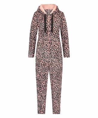 Hunkemoller Ladies Onesie Made of Fleece with Print Pink S