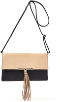 Kathy Ireland Black & Taupe Color Block Tassel Crossbody Bag