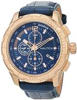 Nautica Men's 'NST 101 EXT' Quartz Stainless Steel and Leather Casual Watch