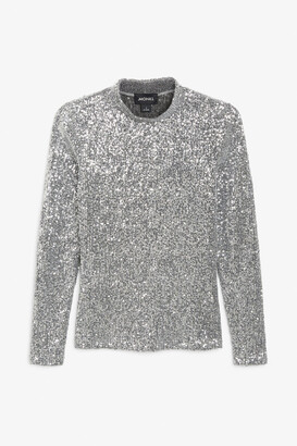 Monki Long-sleeve sequin top
