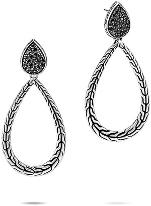 John Hardy Classic Chain Black Spinel Pear-Drop Earrings