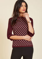 Banned Up to Parisienne Sweater in Merlot Hearts in 4X