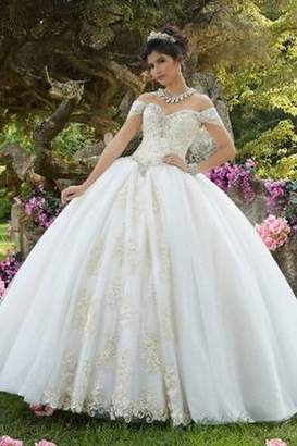 Morilee Embroidered Glitter Organza Gown